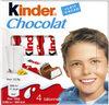 Kinder chocolat - chocolat au lait avec fourrage au lait 4 barres - Produit