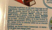 Kinder chocolat - chocolat au lait avec fourrage au lait 4 barres - Ingrédients - fr