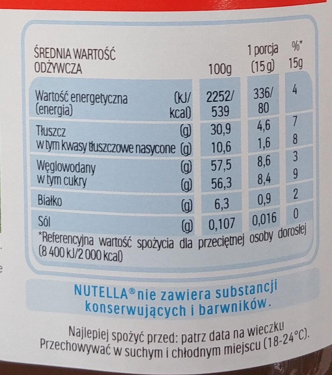 Krem do smarowania z orzechami laskowymi i kakao - Wartości odżywcze - pl