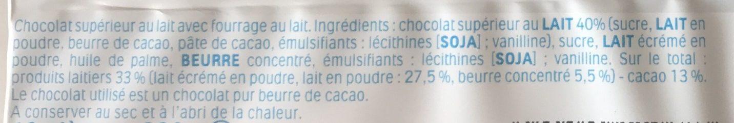 Kinder chocolat - chocolat au lait avec fourrage au lait 16 barres - Ingredienti - fr