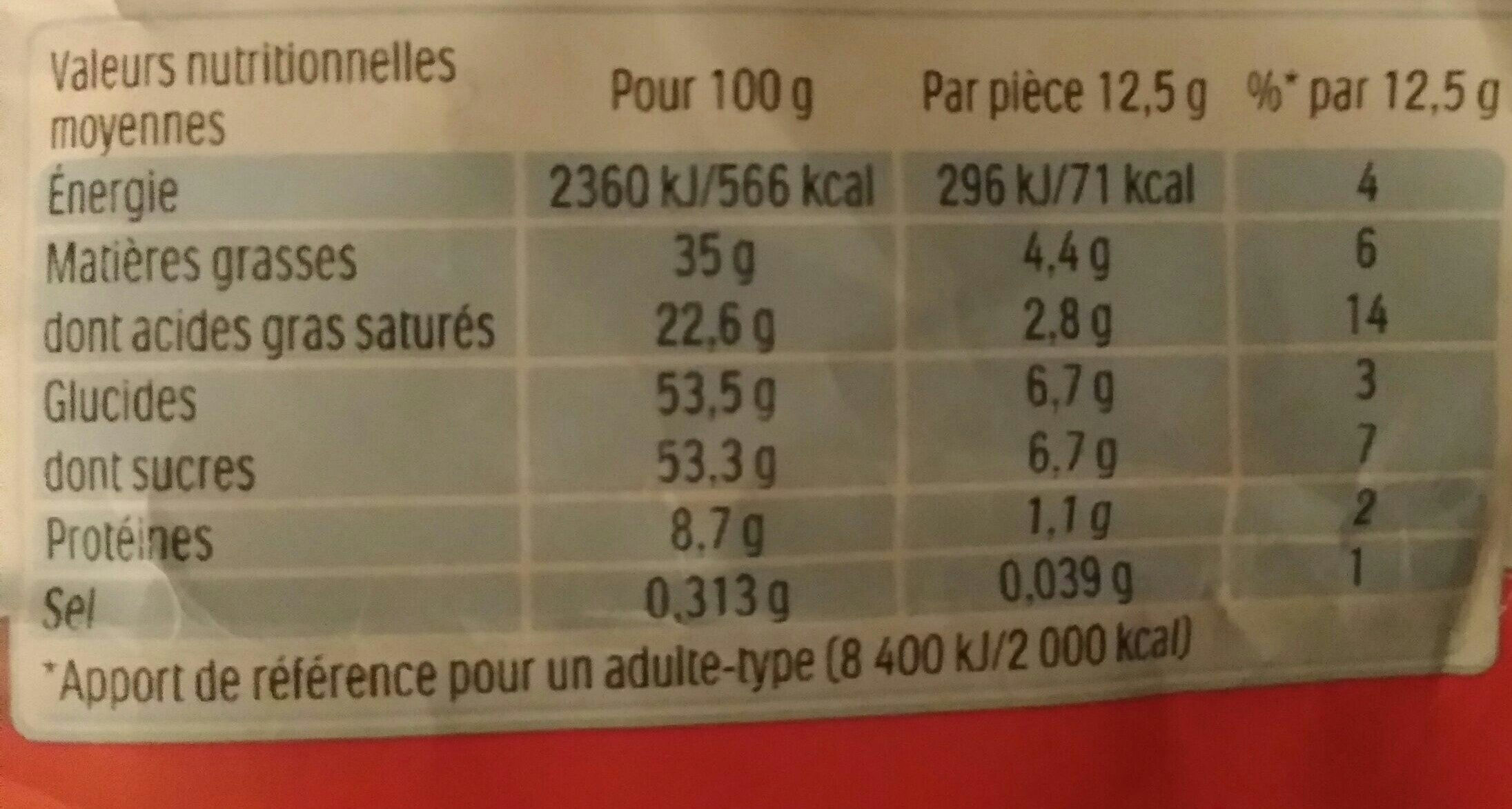 Kinder chocolat - Informations nutritionnelles