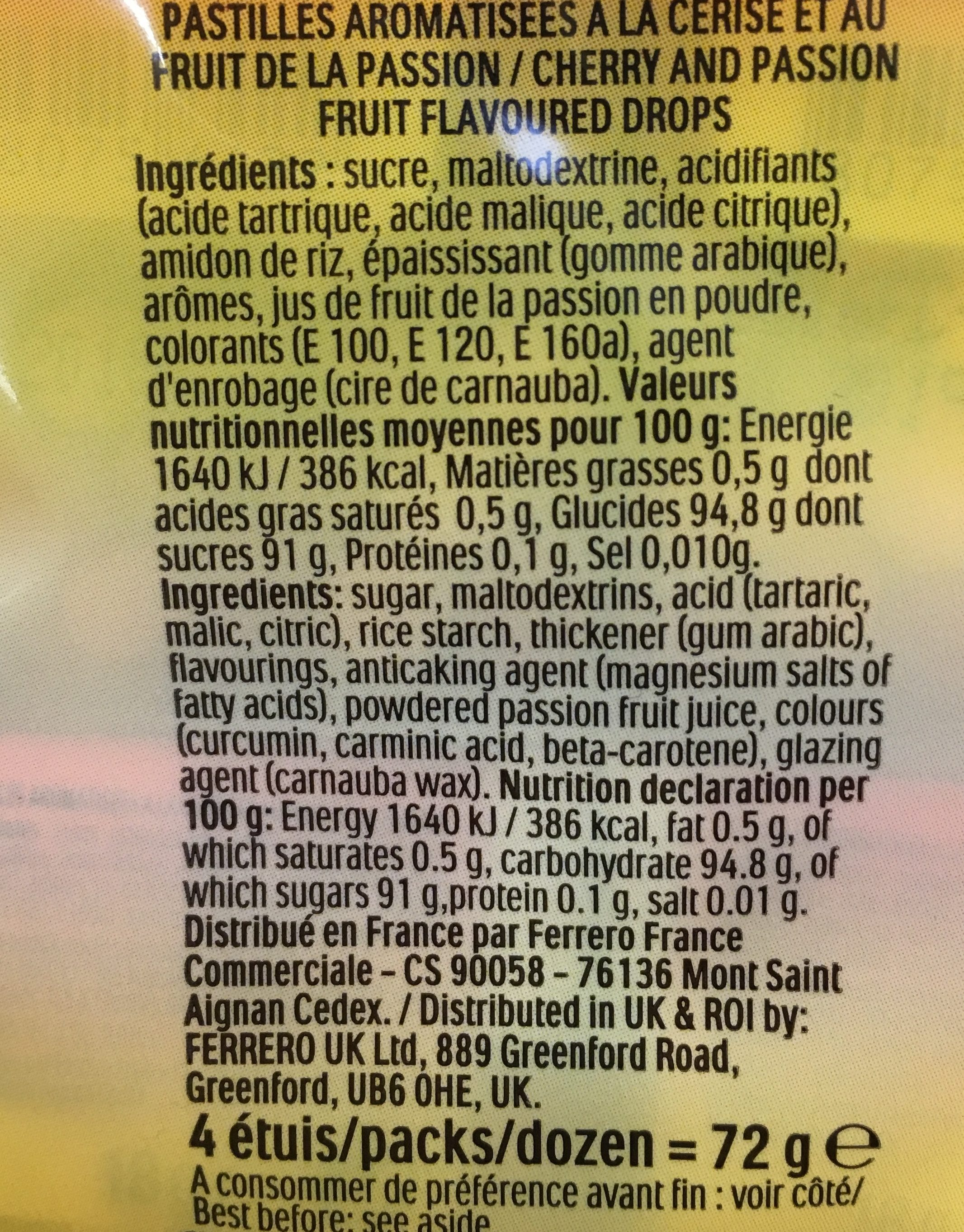 Tic tac goûts cerise & fruit de la passion - Ingrédients