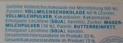 Kinder Schokolade - Ingredients - de