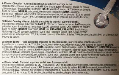 Kinder chaussette - Ingrédients - fr