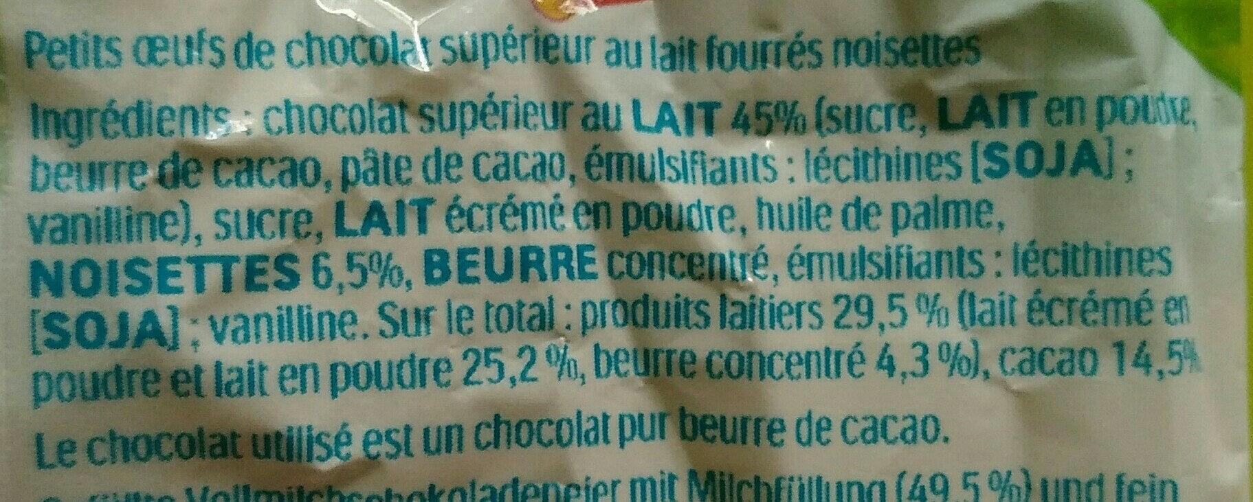 Mini Eggs - Ingrédients - fr