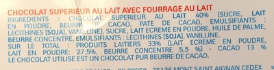 Kinder chocolat barrette 150g etui de 12 barres - Ingredients - fr