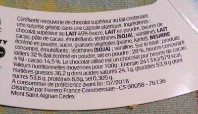 Pâques Maxi Kinder Surprise fille œuf chocolat - Ingredients - fr