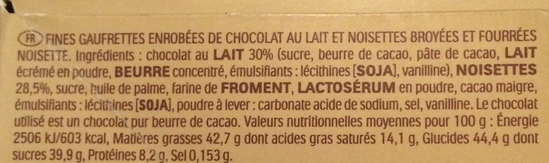 Ferrero rocher fines gaufrettes enrobees de chocolat au lait et noisettes avec noisette entiere cube de 6 pieces - Ingrédients - fr