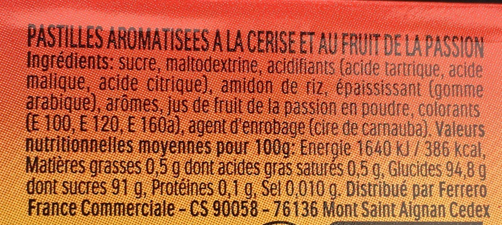 Bonbons tic tac goûts cerise-passion - Ingrédients - fr