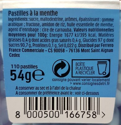 Bonbons tic tac goût menthe extra fraiche - Informazioni nutrizionali - fr