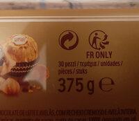 Ferrero rocher fines gaufrettes enrobees de chocolat au lait et noisettes avec noisette entiere boite de 30 pieces - Instruction de recyclage et/ou informations d'emballage - fr