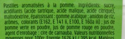 Tic Tac (goûts Duo de Pommes) - Ingrediënten