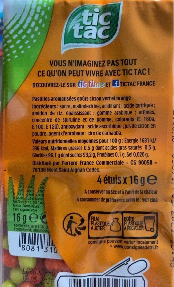 Tic tac duo t4 t(33x4) pack de 4 etuis - Informations nutritionnelles - fr