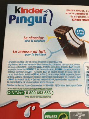 Kinder pingui chocolat etui de - Ingrédients