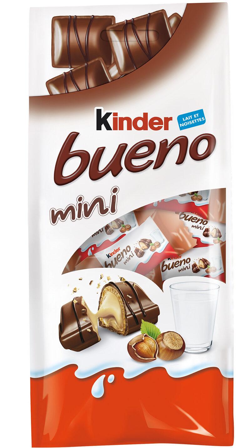 Kinder bueno mini fines gaufrettes enrobees de chocolat au lait fourrees lait et noisettes sachet de 20 pieces - Prodotto - fr