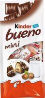 Kinder bueno mini fines gaufrettes enrobees de chocolat au lait fourrees lait et noisettes sachet de 20 pieces - Produit - fr