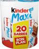 Kinder maxi barre chocolat au lait avec fourrage au lait 20 barres - Product