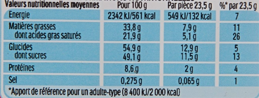 Kinder Country - Informations nutritionnelles