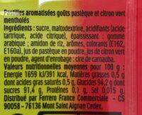 Tic Tac Goût Fraise Smoothie Banane - Nährwertangaben - fr