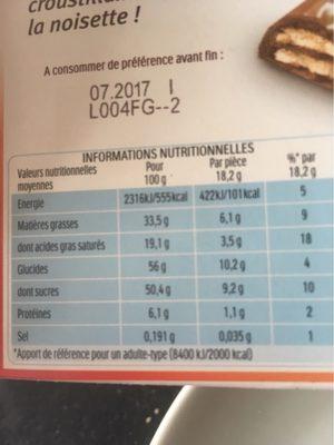 Duplo choco gaufrette 20 barres - Nutrition facts