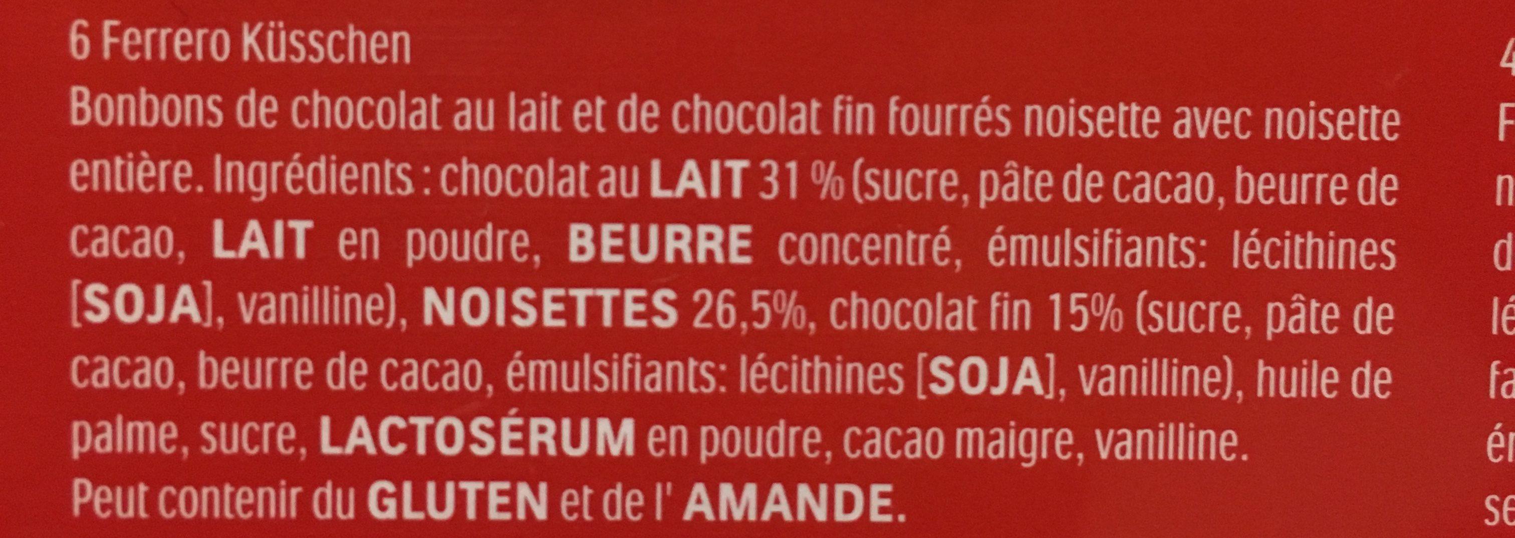 Ferrero prestige assortiment de chocolats boite de 16 pieces - Ingrédients - fr