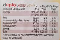 Chocnut White - Nährwertangaben