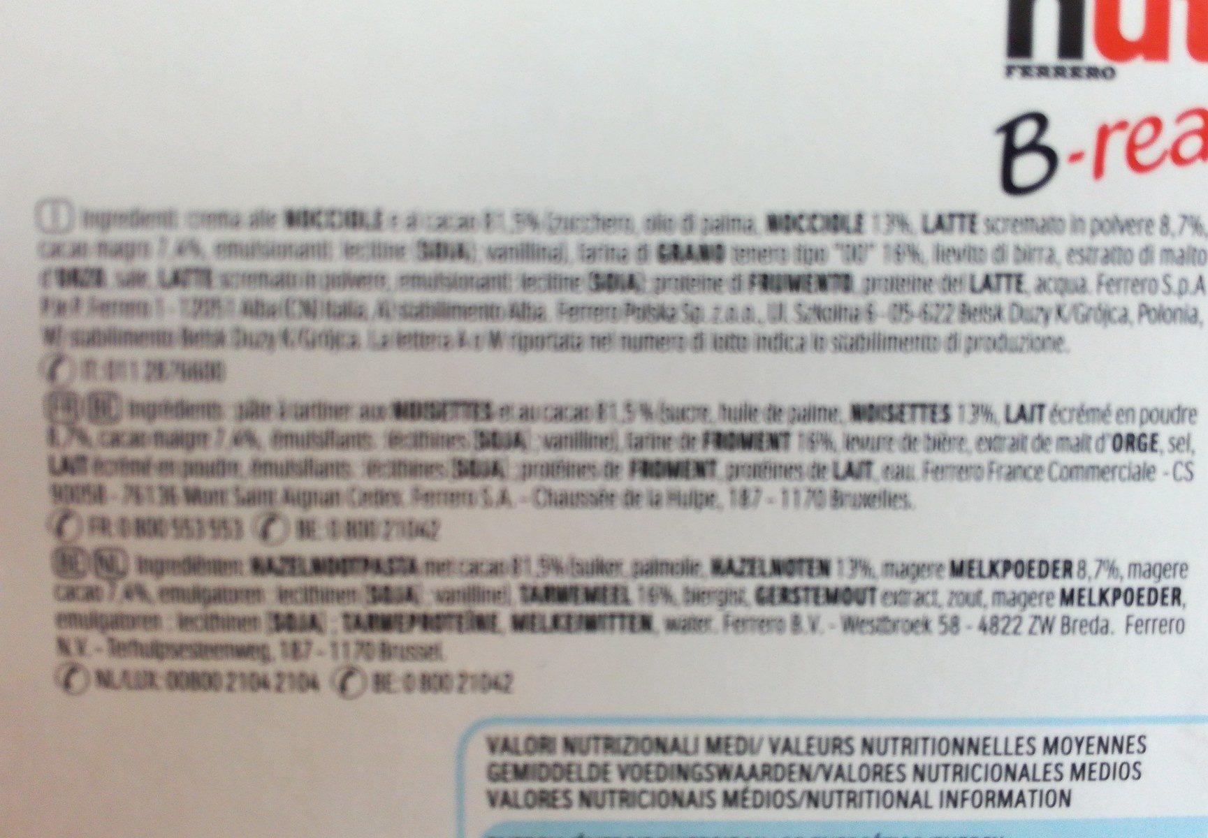 NUTELLA B-READY biscuits 330g paquet de 15 pièces - Ingredienti - fr