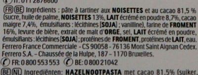Nutella B ready - Ingrédients - fr