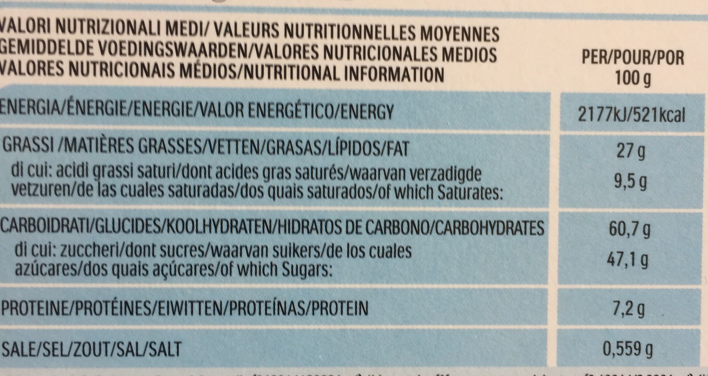 Nutella B ready - Informations nutritionnelles
