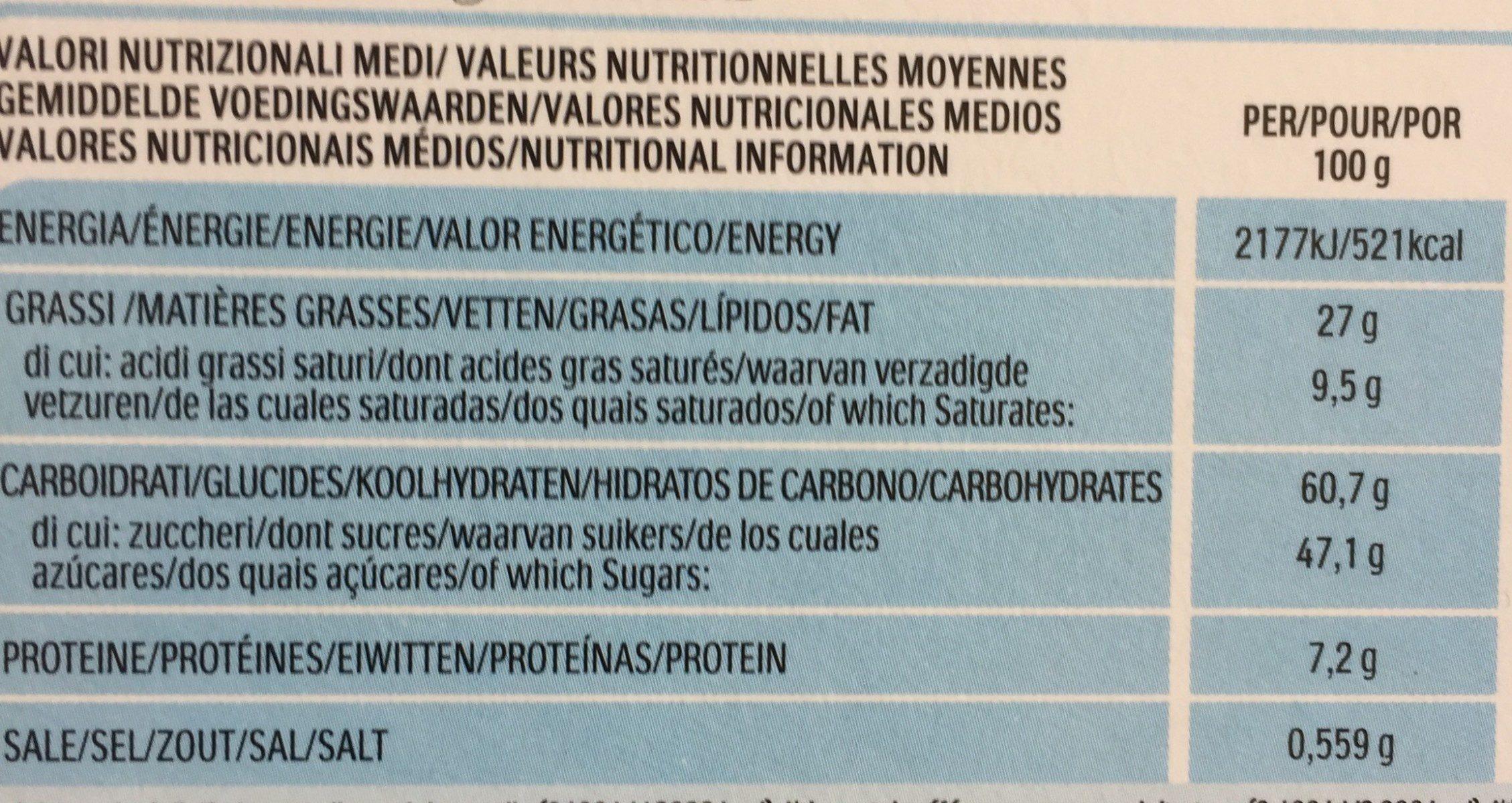 Nutella B ready - Voedingswaarden - fr