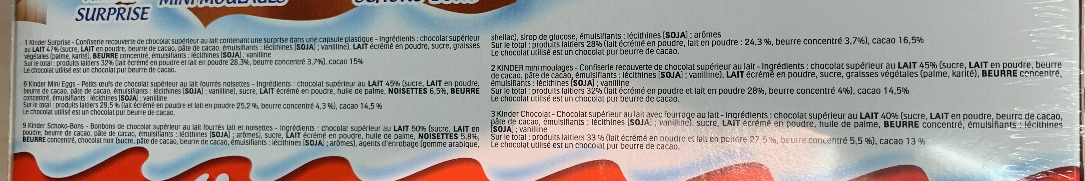 Kinder calendrier de l avent chalet - Ingredients - fr