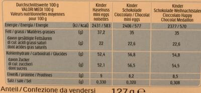 Kinder calendrier de l avent livre - Informations nutritionnelles - fr