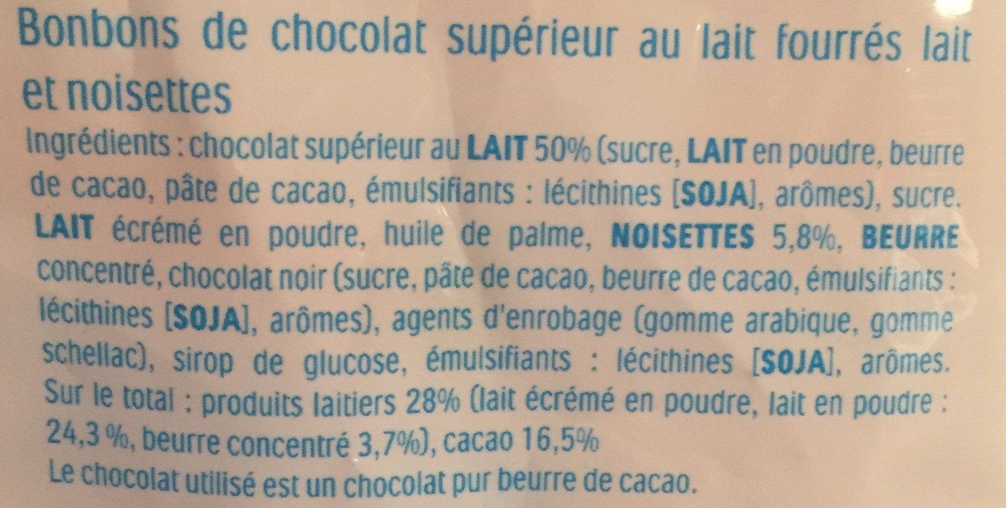 Kinder schokobons bonbons de chocolat au lait fourres lait et noisettes sachet - Ingredienti - fr
