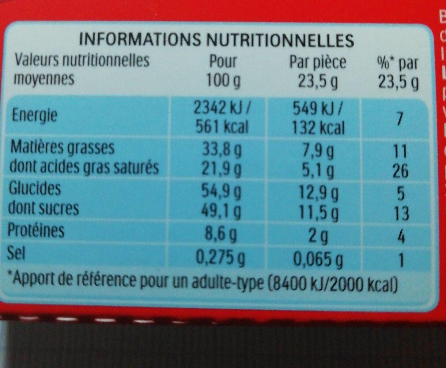 Kinder country barre de cereales enrobee de chocolat 10 barres - Valori nutrizionali - fr