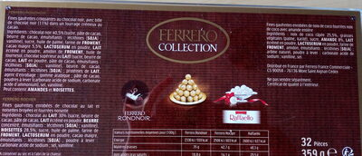 Ferrero collection assortiment de chocolats boite de 32 pieces - Ingrédients - fr