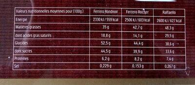 Ferrero collection assortiment de chocolats boite de 32 pieces - Informations nutritionnelles - fr