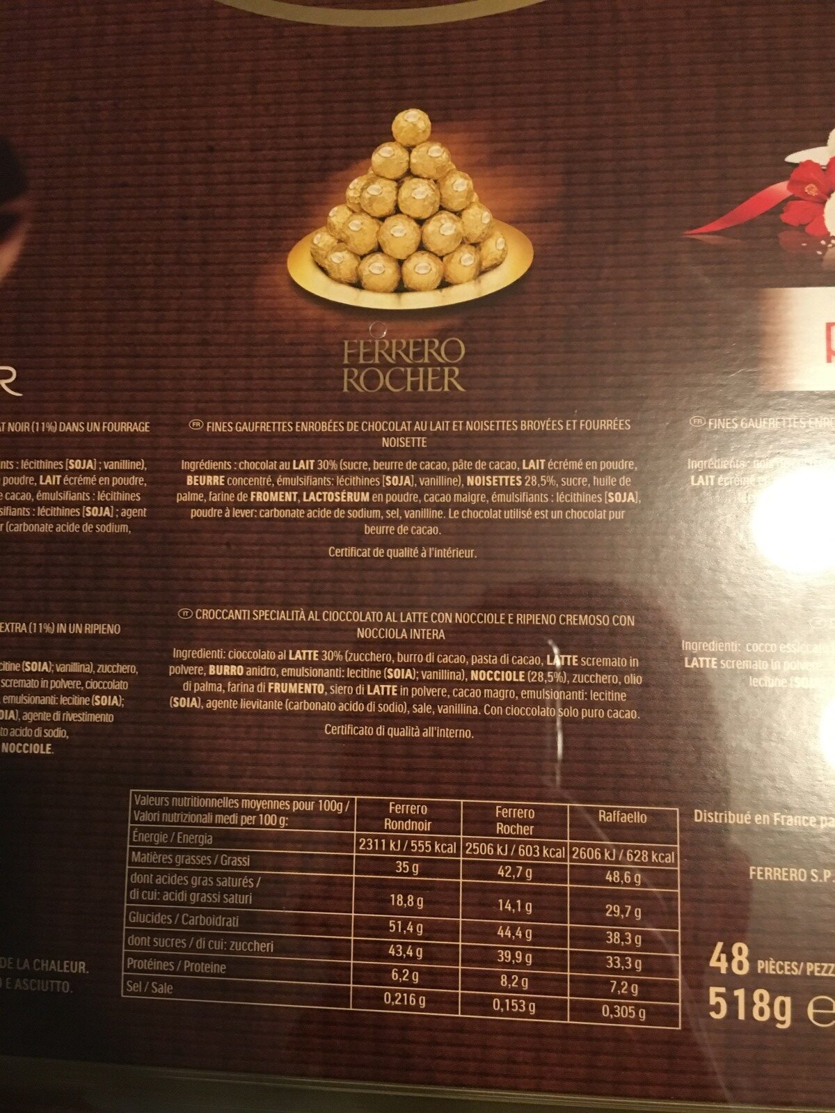 Ferrero 48 Piece Collection - Ingredients - fr