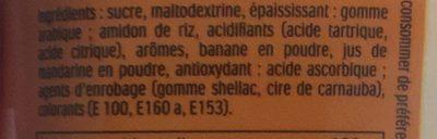 Pastilles aromatisées à la banane et à la mandarine - Ingrediënten - fr