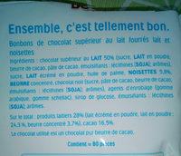 Kinder schokobons bonbons de chocolat au lait fourres lait et noisettes sachet - Ingredients - fr
