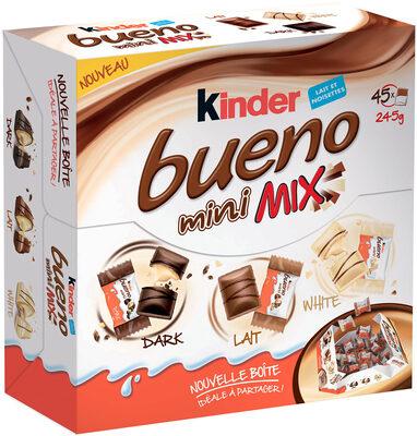 Kinder bueno mini fines gaufrettes enrobees de chocolat au lait fourrees lait et noisettes boite de 45 pieces - Prodotto - fr