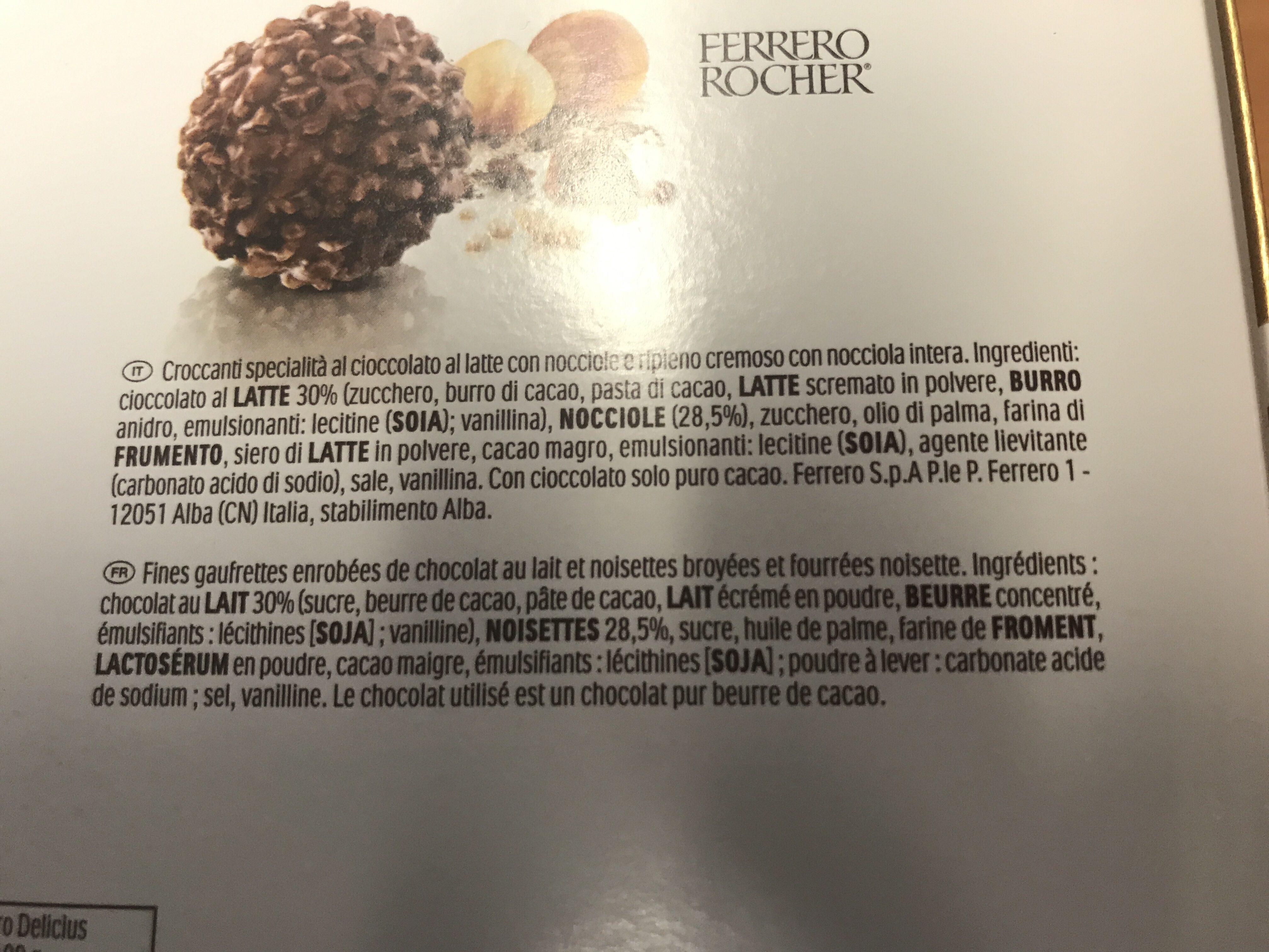 Ferrero golden gallery assortiment de chocolats boite de 42 bouchees - Ingredienti - fr