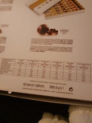 Ferrero golden gallery assortiment de chocolats boite de 42 bouchees - Valori nutrizionali - fr