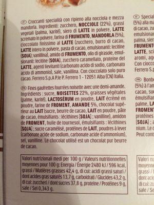 Ferrero golden gallery assortiment de chocolats boite de 22 bouchees - Ingrédients - fr
