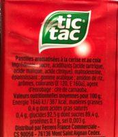 Tic Tac Mixers Bonbons cerise cola 110 pastilles 54 g - Voedingswaarden