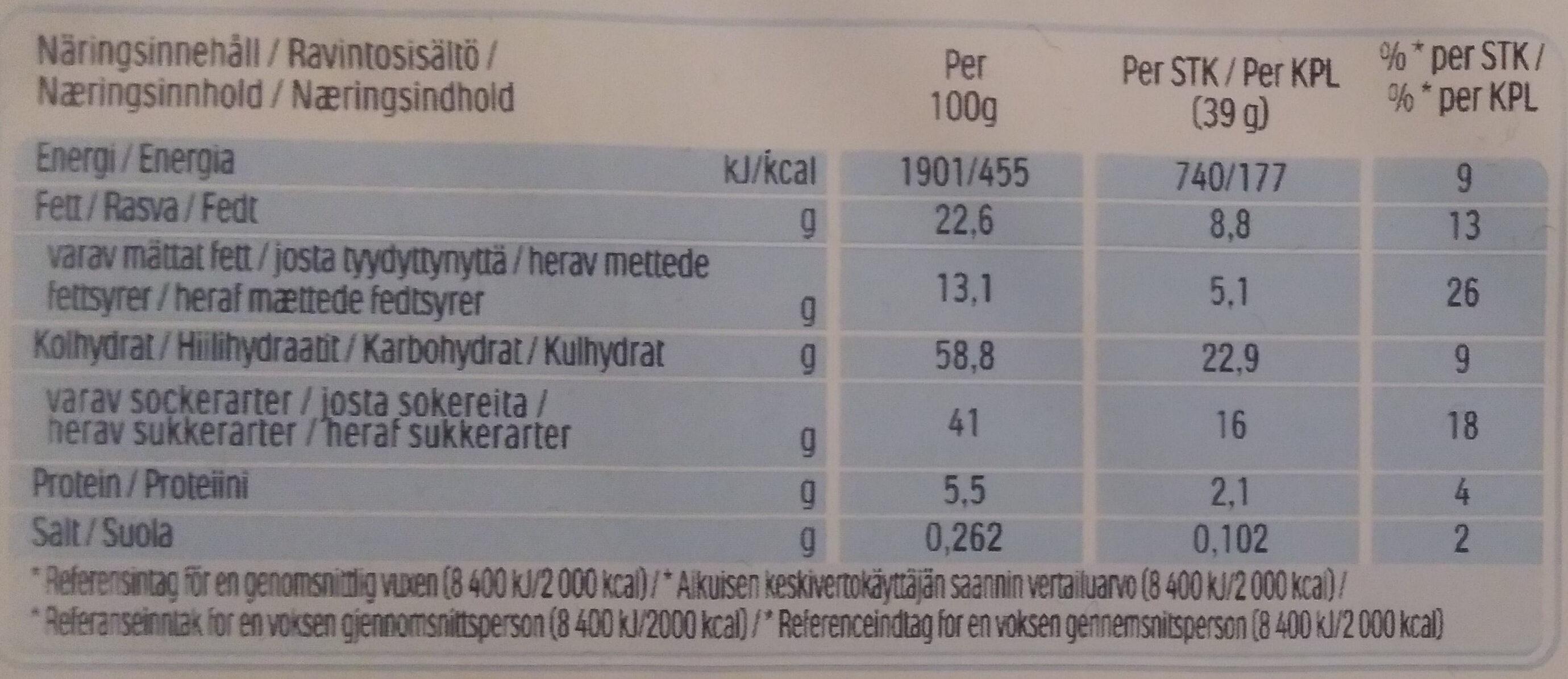 Kinder delice cacao gateau enrobe au cacao et fourre au lait t10 pack de 10 pieces - Ravintosisältö - fi