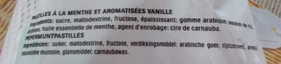 Pastilles à la menthe et aromatisees vanille - Ingrediënten
