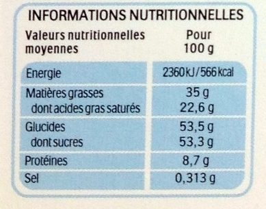 Kinder Chocolat - Nutrition facts - fr