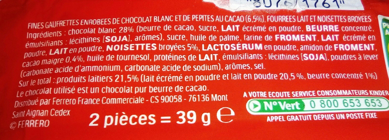 Kinder bueno white gaufrettes enrobees de chocolat blanc 3 x2 barres - Ingrediënten - fr