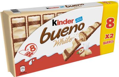 Kinder bueno white gaufrettes enrobees de chocolat blanc 8 x2 barres - Produit - fr