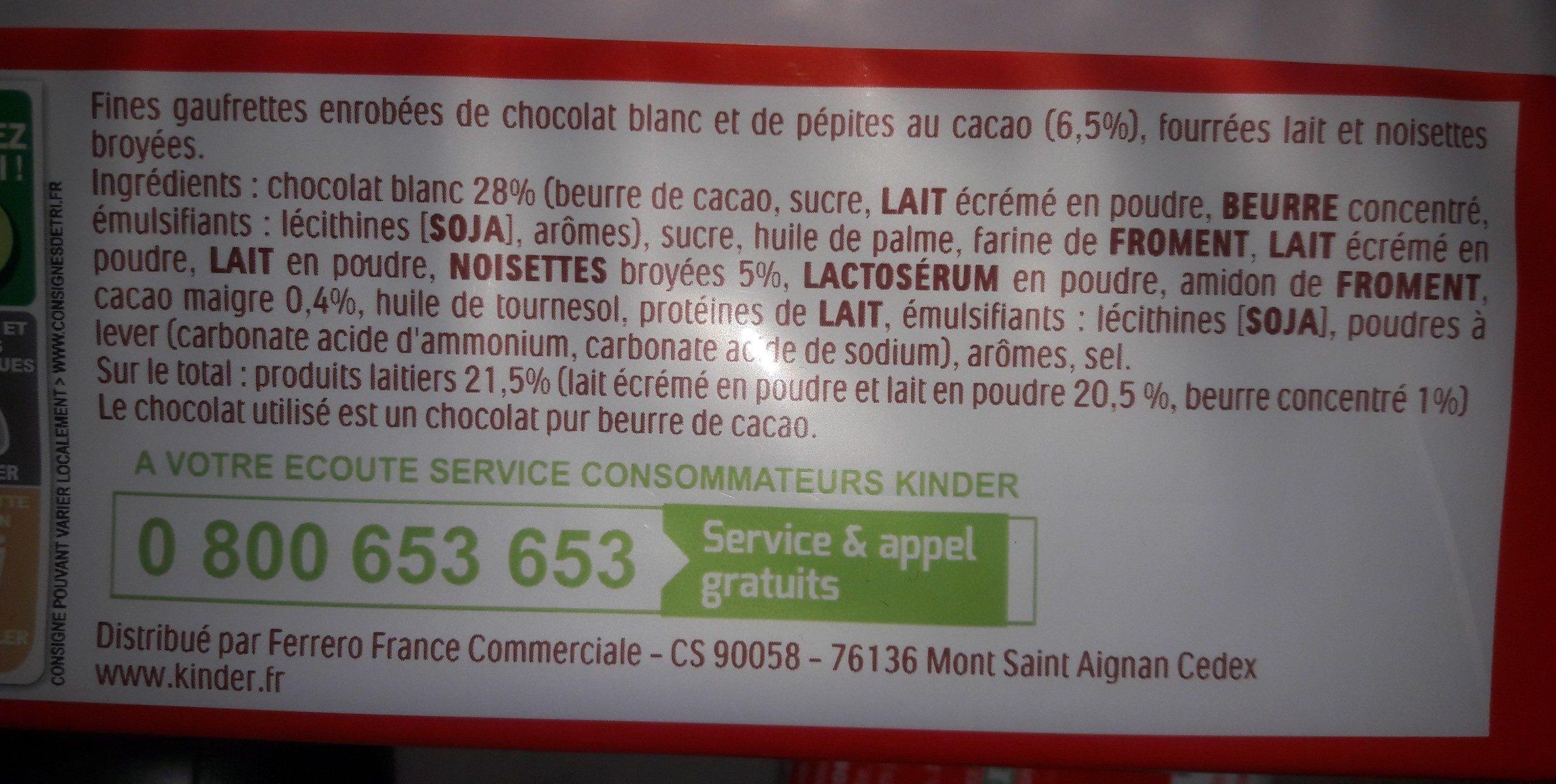 Kinder bueno white gaufrettes enrobees de chocolat blanc 8 x2 barres - Ingrédients - fr